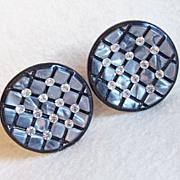 Gorgeous PLASTIC & RHINESTONE Vintage Estate Clip Earrings