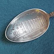 Detailed SAN GABRIEL MISSION Sterling Silver Signed Antique Souvenir Spoon
