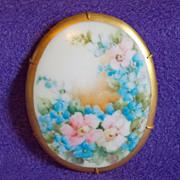 Fabulous VICTORIAN Huge Antique Handpainted Porcelain Pink & Blue Estate Brooch
