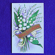 Gorgeous LILY OF THE VALLEY Antique Victorian Estate Postcard