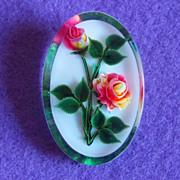 Gorgeous REVERSE CARVED LUCITE Bi Color Roses Vintage Estate Pin Brooch