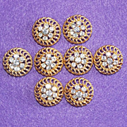 Gorgeous RHINESTONE BUTTONS Set of 8 Vintage Estate Buttons