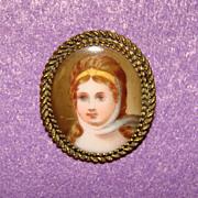 Gorgeous Antique Porcelain LADY Brooch