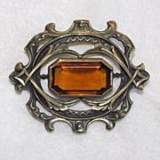 Antique Amber Glass & Brass Victorian Ornate Estate Sash Pin Brooch