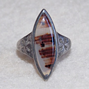 Gorgeous BANDED AGATE Sterling Vintage Estate 3 1/2 Pinky Ring