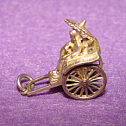 Fine Detailed Sterling Silver LADY with PARASOL in Rickshaw Charm