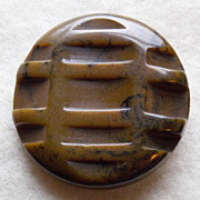 Gorgeous CARVED BAKELITE Large Marbled Vintage Estate Button