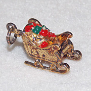 Awesome SANTAS SLEIGH Sterling Vintage Estate Charm