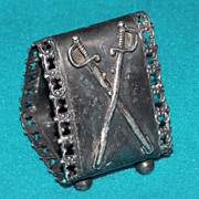 Antique CROSSED SWORDS Victorian Silver Plate Estate Napkin Ring