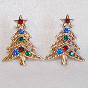 Gorgeous CHRISTMAS TREE Red Green Blue Rhinestone Vintage Estate Clip Earrings