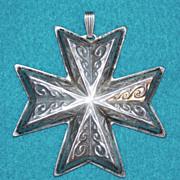 Fabulous REED & BARTON Sterling Vintage CHRISTMAS CROSS Medallion Ornament