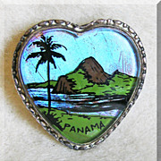 Fabulous BUTTERFLY WING Mountain & Palm HEART Reverse Painted Vintage Pin Brooch