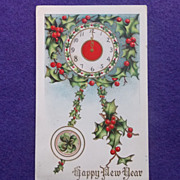 Antique NEW YEAR Holly Clock Estate Postcard
