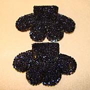Gorgeous SHOE BUCKLES Vintage Beaded Black Carnival Glass