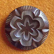 Fabulous CARVED BAKELITE Flower Design Vintage Estate Button