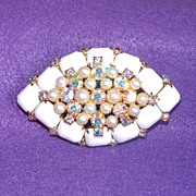 Fabulous MILKGLASS & AURORA Huge Vintage Estate Pin Brooch