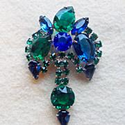 Gorgeous GREEN & BLUE RHINESTONE Vintage Estate Pin Brooch