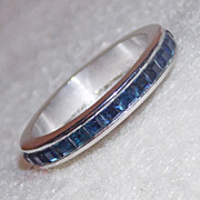Art Deco STERLING & BLUE STONE Vintage Eternity Pinky Ring