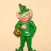 Lucky LEPRECHAUN Vintage Early Plastic Figural Pin Brooch