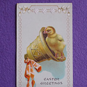 Antique CHICK IN BELL Estate Easter Postcard