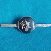 Awesome SIAM STERLING Signed Niello GODDESS Vintage Estate Tie Bar Clasp Clasp