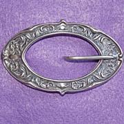 Fabulous VICTORIAN STERLING Front Art Nouveau Antique Estate Sash Pin Brooch