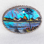 Fabulous BUTTERFLY WING Signed Rio Souvenir Vintage Estate Pin Brooch