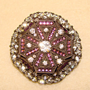 Antique HAT PIN Brooch Purple Glass & Clear Stones