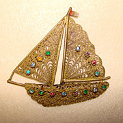 1940's Fabulous Filigree & Rhinestone SHIP Brooch