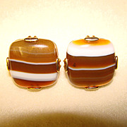 Awesome Vintage BANDED AGATE Cufflinks