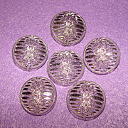Gorgeous BUTTONS Vintage Clear & Silver Glass Buttons