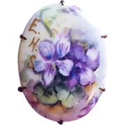 Antique VICTORIAN Handpainted Porcelain Violets Estate Pin Brooch