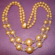 Fabulous Huge Giant Faux Pearl & Crystal Necklace
