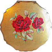 Stratton England Signed Red Rose Vintage Estate Powder Compact
