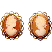 Gorgeous Carved Shell Cameo 14K GF Signed Vintage Estate Earrings