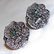 SALE PENDING Awesome INSECT Bug Cricket Green Rhinestone Vintage Estate Cufflinks