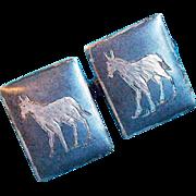 Siam Silver Horse Niello Enamel Vintage Estate Cufflinks