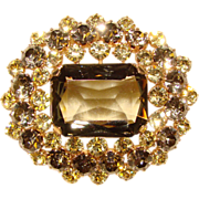 Fabulous Vintage SMOKE & LIGHT YELLOW Rhinestone Brooch