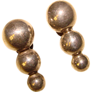 Fabulous MEXICAN STERLING Stacked Sphere Design Estate Earrings