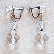 Art Deco Sterling & Rock Crystal Vintage Estate Dangle Earrings