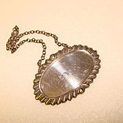 Fabulous STERLING Vintage Decanter Bar Tag - Rye Whiskey