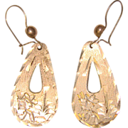 Awesome MEXICAN STERLING Vintage Engrave Siesta Agave Design Dangle Earrings
