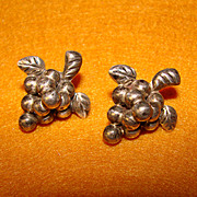 Awesome MEXICAN STERLING Vintage Grapes Design Earrings