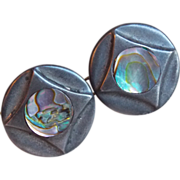 Mexican Sterling & Abalone Taxco Signed Vintage Estate Cufflinks