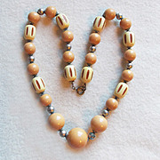 Art Deco Celluloid Carved Bead Vintage Estate Necklace