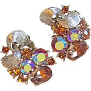Fabulous LISNER Fawn Aurora Rhinestone Vintage Estate Earrings