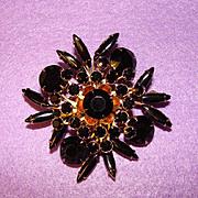 Dramatic BLACK RHINESTONE Vintage Estate Pin Brooch