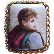 Fabulous Victorian Hand Painted Porcelain Lady Antique Estate Pin Brooch