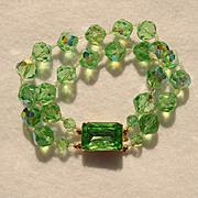 Fabulous GREEN AURORA CRYSTAL 2 Strand Vintage Estate Bracelet
