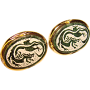 Awesome DRAGON Vintage Green Etched Stone Cufflinks